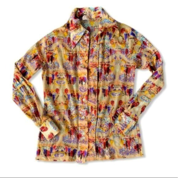 Vintage Michele abstract print button front shirt
